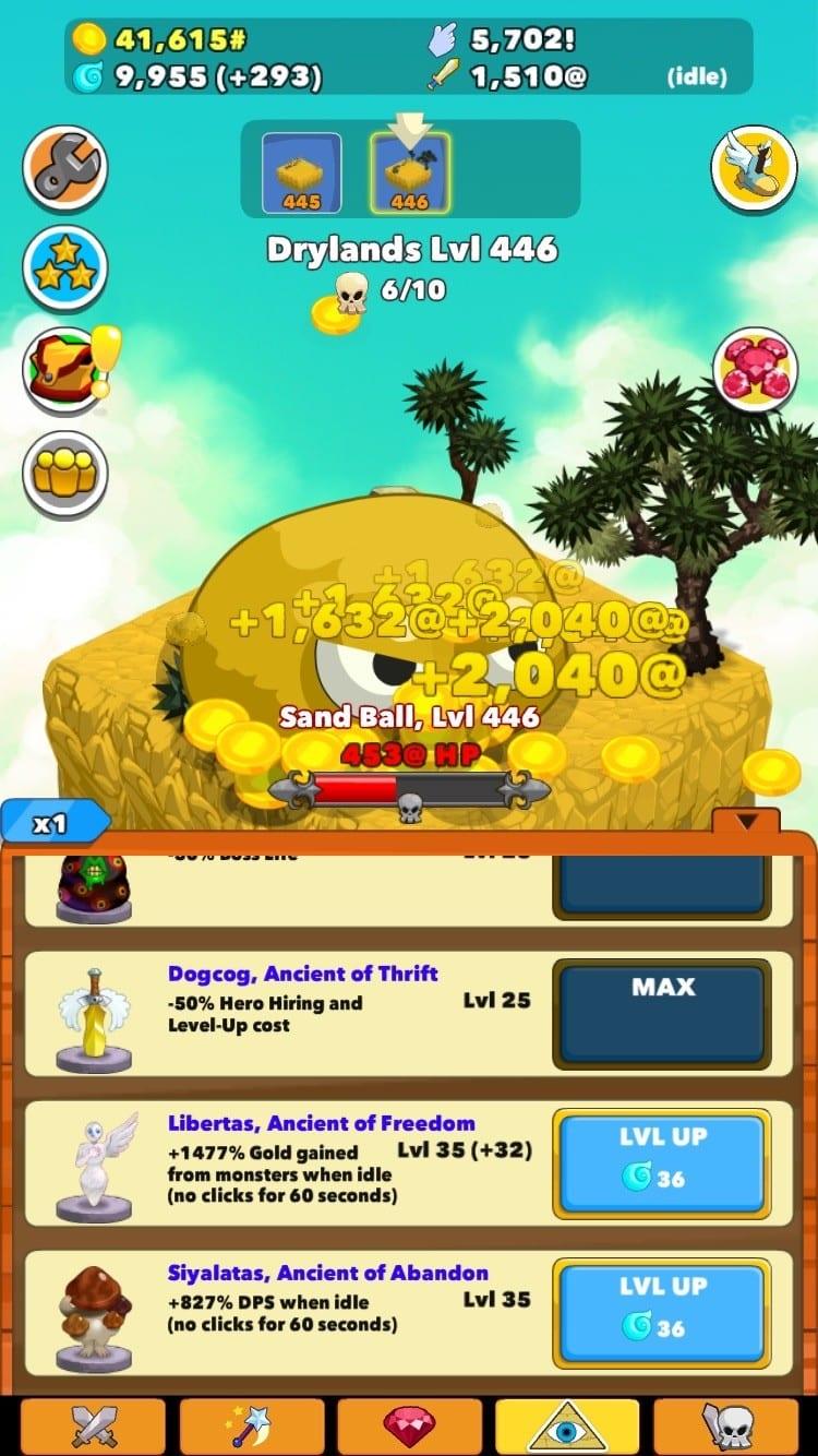 Clicker Heroes Test iOS My Geek Actu Ancients