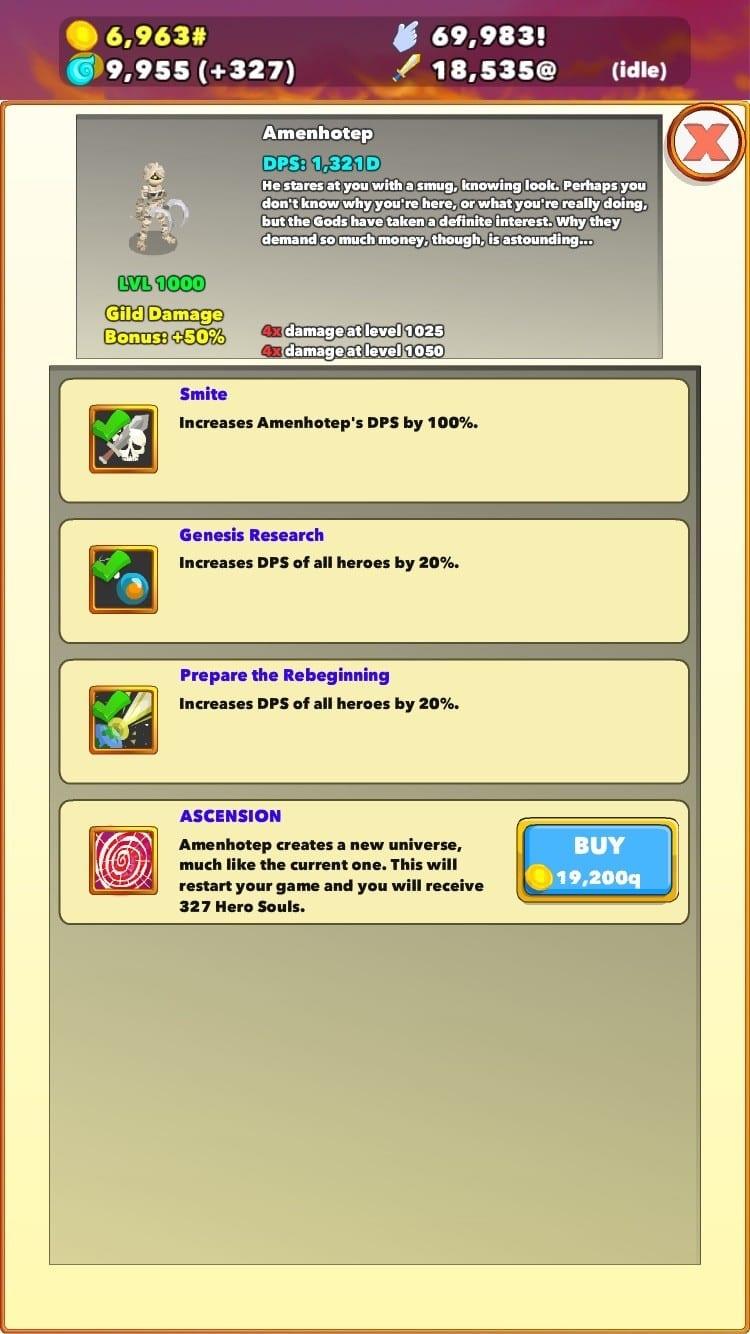 Clicker Heroes Test iOS My Geek Actu Ascension