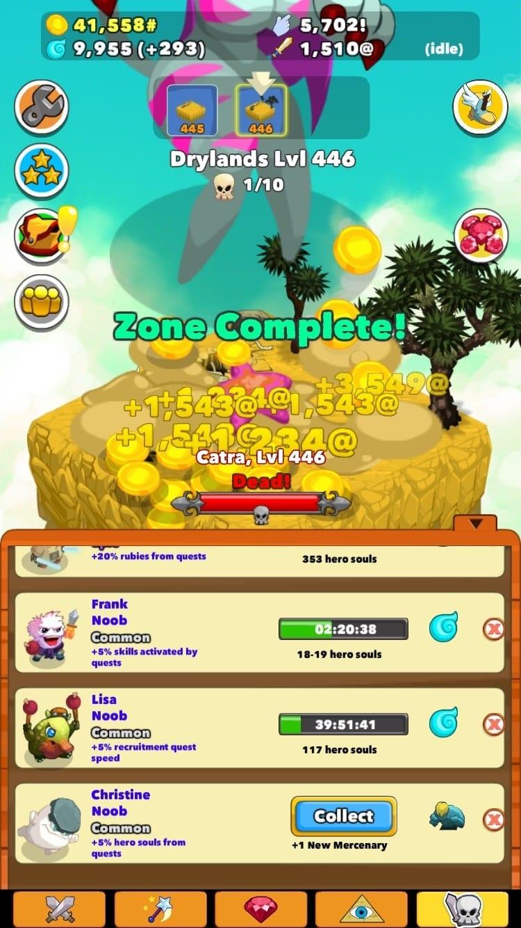 Clicker Heroes Test iOS My Geek Actu Mercenaries