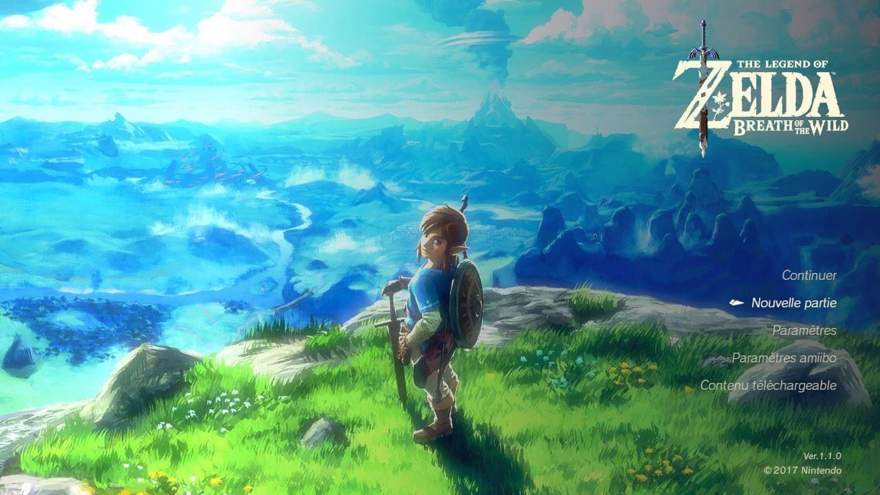 The Legend of Zelda Breath of the Wild Test Menu d'accueil