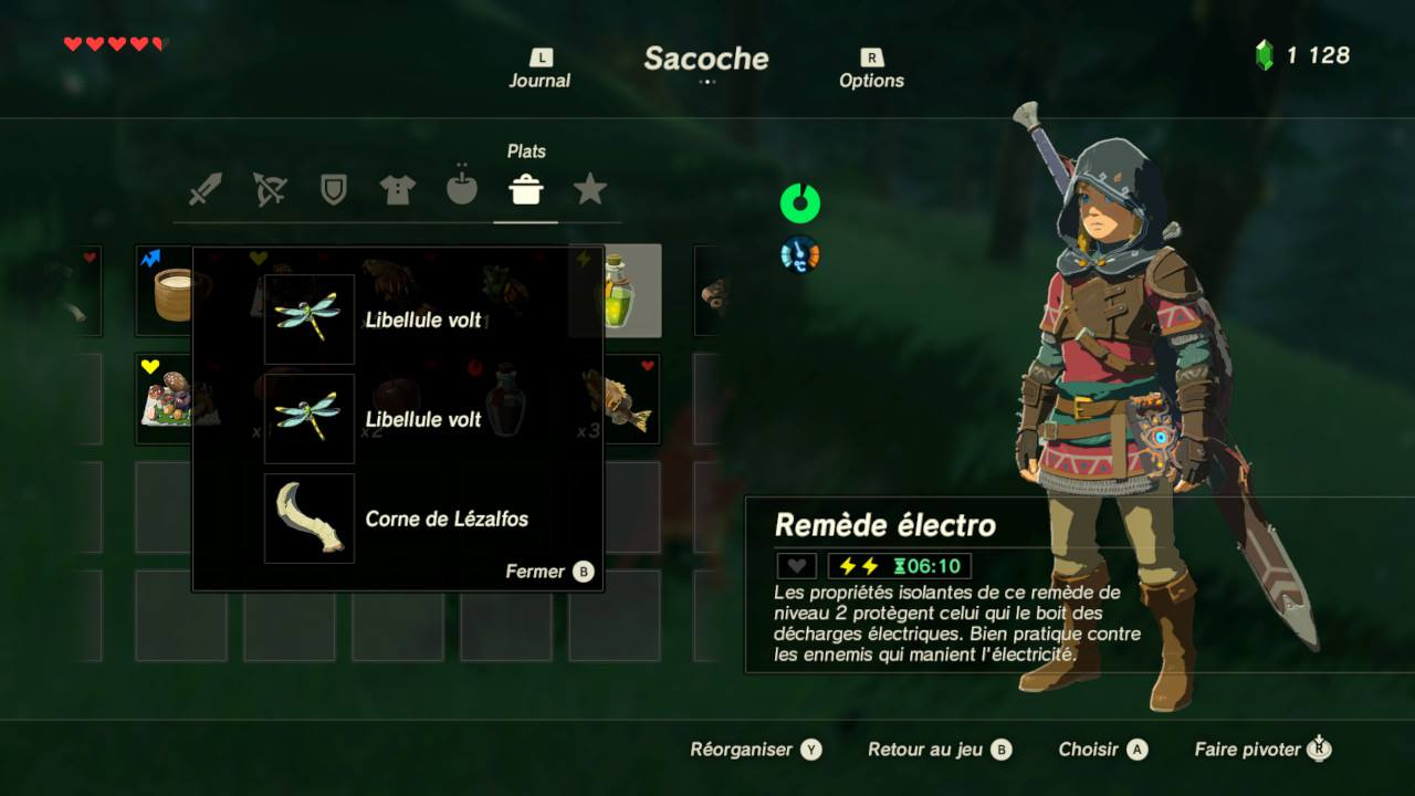 The Legend of Zelda Breath of the Wild Test Personnalisation de l'équipement